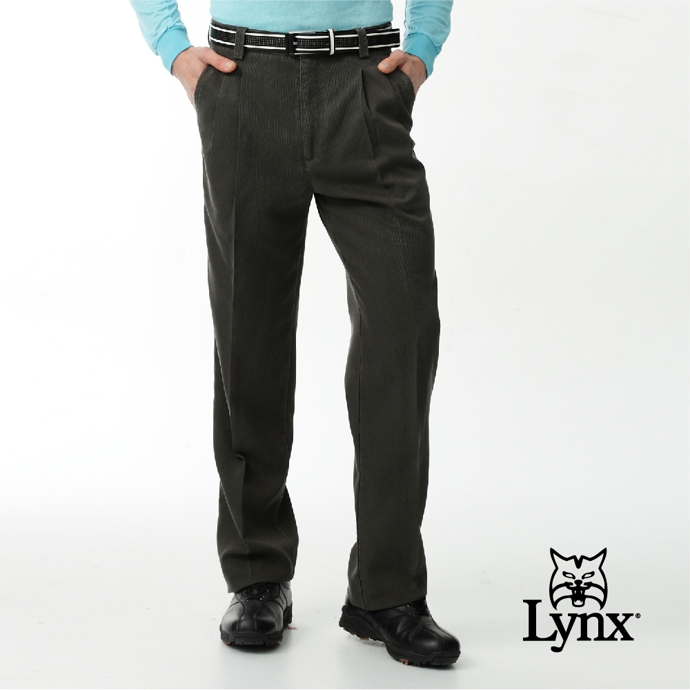 【Lynx Golf】男款彈性舒適類條絨素面雙折休閒長褲-卡其色