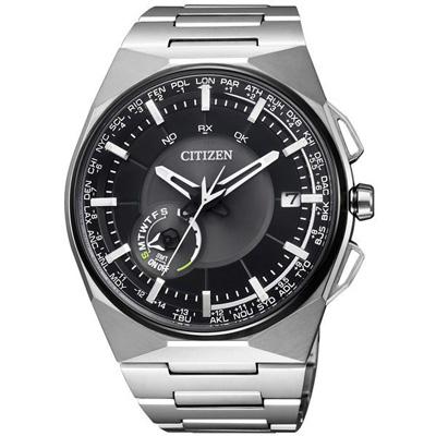 CITIZEN GPS 衝鋒衛星對時鈦金屬旗艦腕錶(CC2006-53E)-黑x銀
