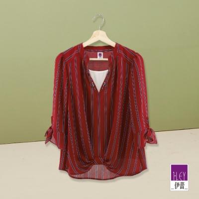 ILEY伊蕾 撞色條紋V領袖綁帶上衣(紅)