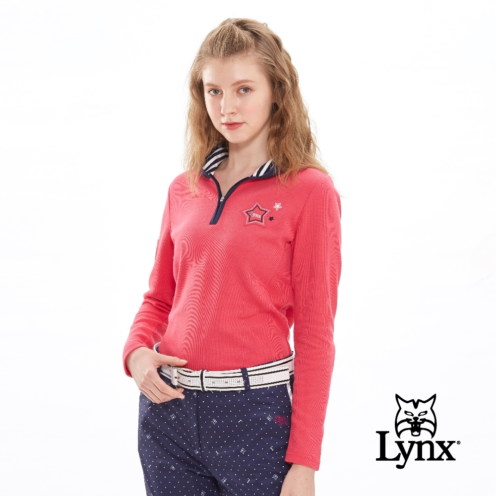 【Lynx Golf】女款羅紋摩毛布翻領款立領長袖POLO衫-桃紅色