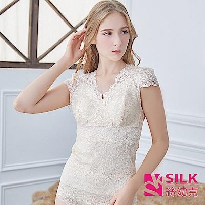 【SILK絲幼克】100%純蠶絲雙層收腹蕾絲短袖雕塑美體衣