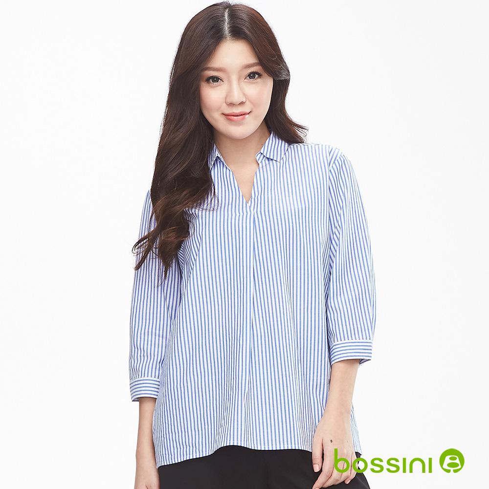 bossini女裝-純棉7分袖罩衫01天藍