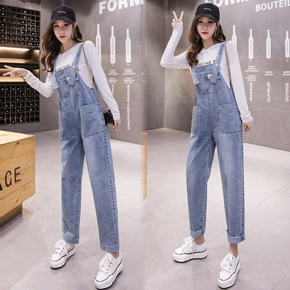 【韓國K.W.】(預購)時尚風格部落連身牛仔吊帶褲-1色