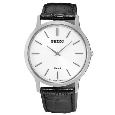SEIKO精工   時尚爾雅超薄太陽能石英腕錶(SUP873P1)-白x38mm