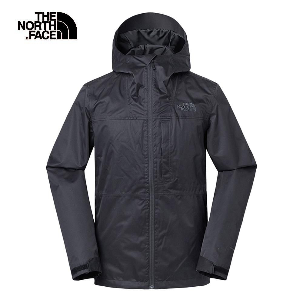 The North Face北面男款黑色防風防水三合一外套|3V9BJK3