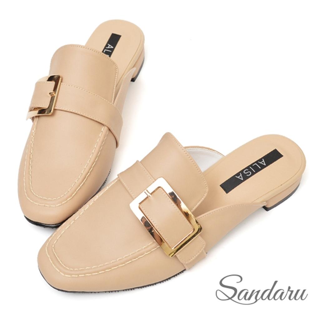 山打努SANDARU-訂製皮帶釦方頭穆勒鞋-卡其