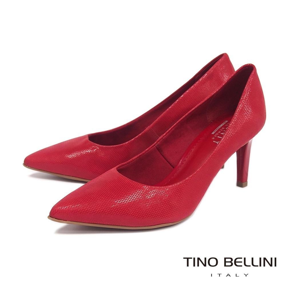 Tino Bellini巴西進口性感女神牛皮壓紋尖楦高跟鞋_紅