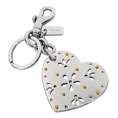 COACH銀色鏤刻雕花金屬愛心雙扣環鑰匙圈COACH