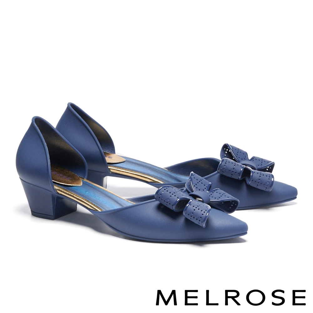 高跟鞋 MELROSE 氣質典雅蝴蝶結造型尖頭高跟鞋-藍