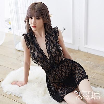 性感睡衣 花影華麗透明全蕾絲睡裙。黑色  久慕雅黛