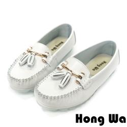 Hong Wa 小資OL‧牛皮金屬蝴蝶結娃娃鞋 - 白
