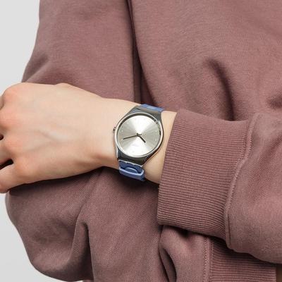 SWATCH Skin Irony 超薄金屬系列手錶BLUE MOIRE(38mm)