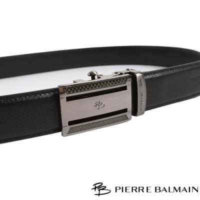 PB皮爾帕門 方框格紋兩切頭層牛皮紳士自動扣皮帶(709)