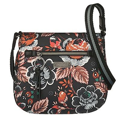 織帶翻蓋背殼斜背包-法國玫瑰復刻印花-經典黑 LiliO