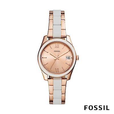 FOSSIL SCARLETTE MINI 白x玫瑰金色迷你不鏽鋼女錶 32mm ES4589