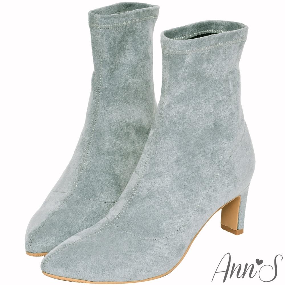 Ann'S慾望巴黎-防水絨布貼腿直跟襪靴-灰藍