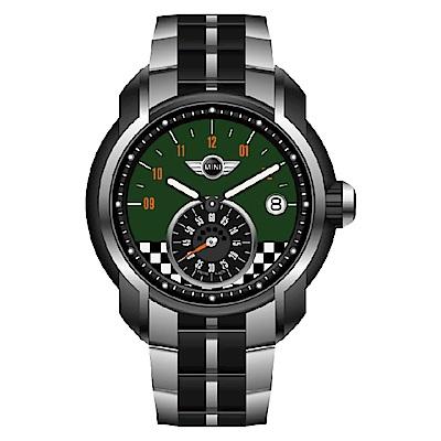 MINI Swiss Watches 旗幟飄飄賽車錶(MINI-49ES)-綠/45mm