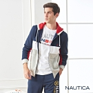 Nautica修身拼接刷毛連帽外套-深藍