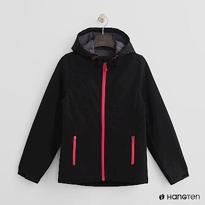 Hang Ten-女裝-ThermoContro 恆溫多功能系列-內刷毛連帽風衣外-黑