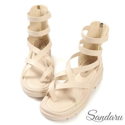 山打努SANDARU-韓國直送 交叉夾腳厚底羅馬涼鞋-米