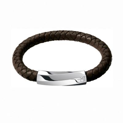 CALVIN KLEIN Bewilder 系列褐色皮革編織白鋼手環-L