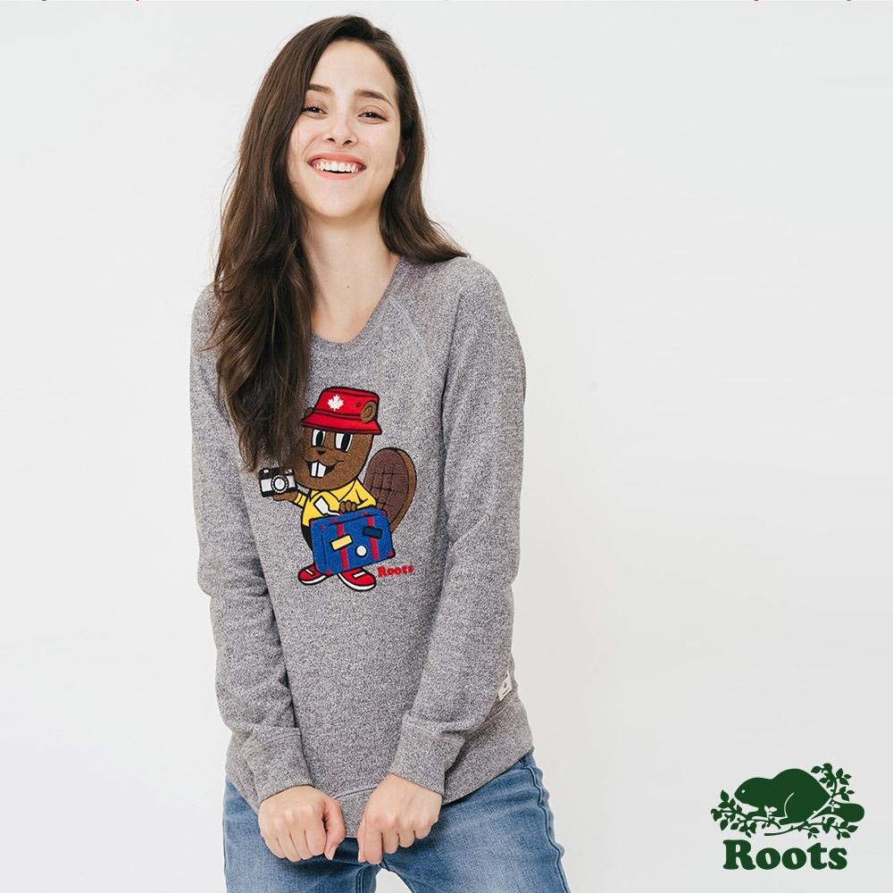 Roots 女裝-可愛海狸刷毛圓領上衣-灰