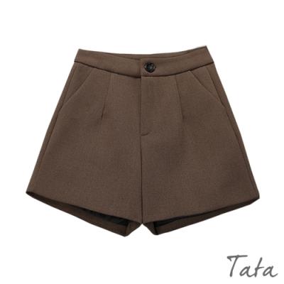 前打摺高腰毛呢短褲 共三色 TATA-(S~L)