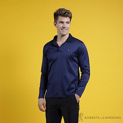 ROBERTA諾貝達 台灣製 簡約百搭 合身版 純棉素色長袖POLO衫  深