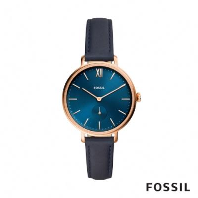 FOSSIL KAYLA 靛藍色皮革女錶 36mm ES4663