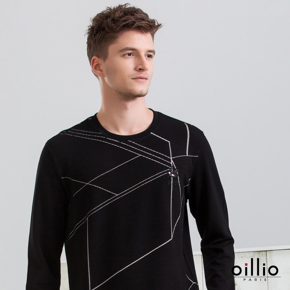 oillio歐洲貴族 長袖超柔天絲棉T恤 超彈防皺 幾何線條圓領款式 黑色