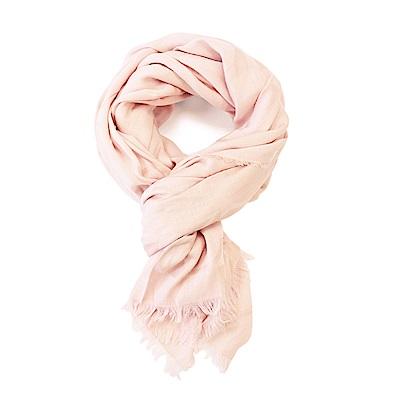 COACH 滿版LOGO羊毛混絲素色披肩圍巾 淺粉/大COACH