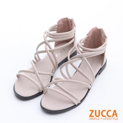 ZUCCA-繞繩交叉羅馬涼鞋-白-z6322we