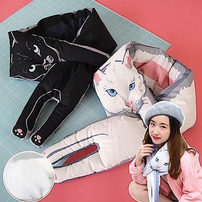 EZlife日系超萌貓咪羽絨保暖圍巾