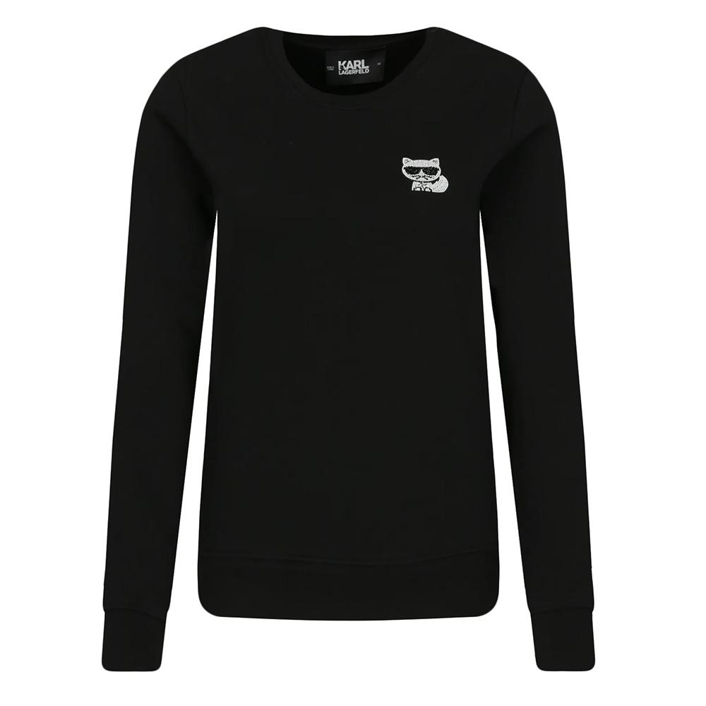 Karl Lagerfeld 水鑽墨鏡貓咪棉質長袖T恤/運動衫 (黑色)