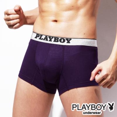 PLAYBOY MIT素面棉感低腰平口褲 四角褲-單件(紫)
