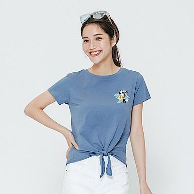 Hang Ten - 女裝 - 有機棉 綁帶鸚鵡印圖上衣-藍色