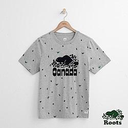 Roots 男裝-  周年系列 松果滿版印花短袖T恤-灰
