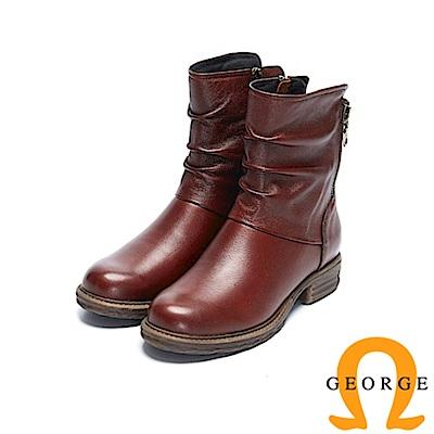 GEORGE 喬治-真皮拉鍊低跟率性短靴-酒紅