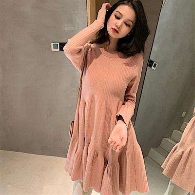DABI 韓國風優雅修身名媛荷葉邊針織純色長袖洋裝