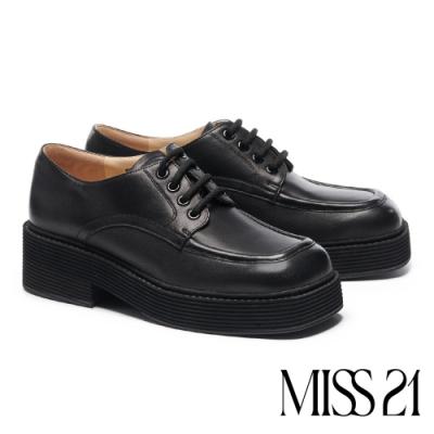 厚底鞋 MISS 21 復古紳士小文青綁帶全真皮厚底鞋-黑