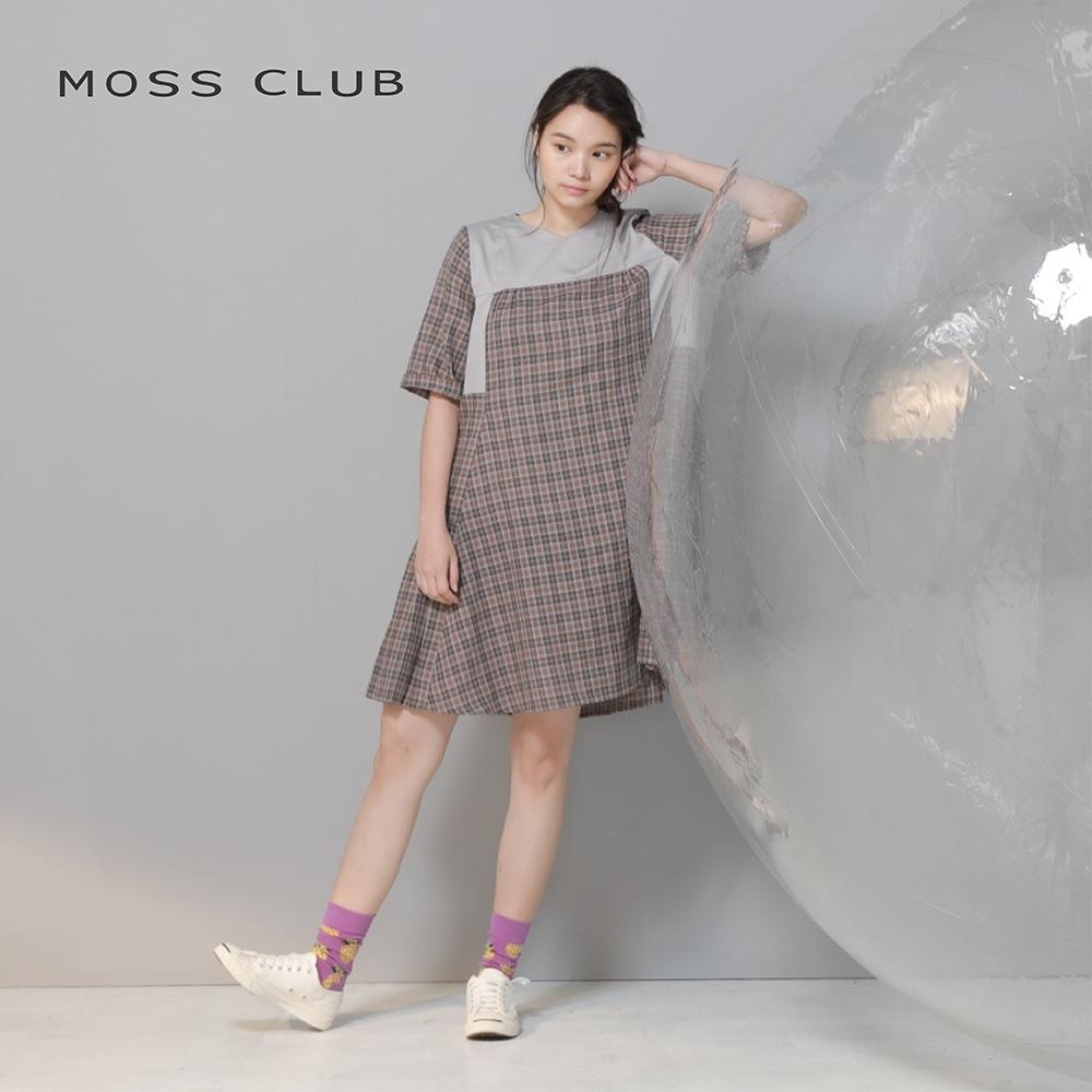 【MOSS CLUB】MIT台灣製拼接格紋側邊百褶-洋裝(灰色)