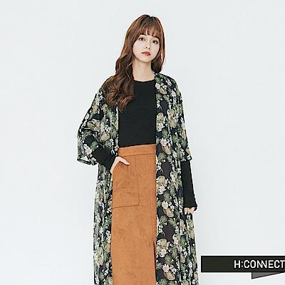 H:CONNECT 韓國品牌 女裝-輕盈開襟印花罩衫-藍
