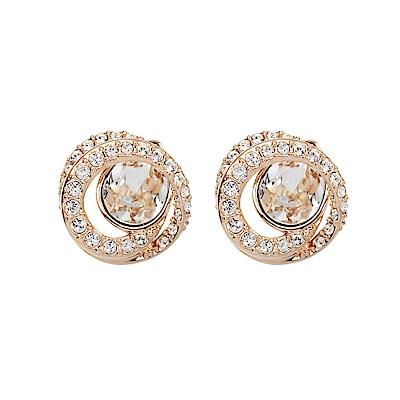 SWAROVSKI 施華洛世奇 璀璨水晶雙圈造型玫瑰金耳環