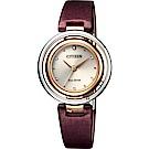 CITIZEN 星辰 L系列光動能同心圓女錶-酒紅絹絲錶帶/30.5mm