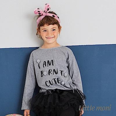 Little moni 立體毛球印圖綁帶上衣(兩色可選)