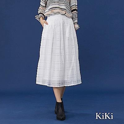 【KiKi】飄逸格紋紡紗-長裙(共二色)