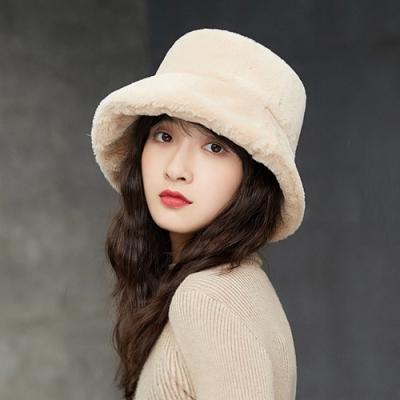 幸福揚邑 韓版時尚保暖毛絨漁夫帽盆帽平頂帽-米