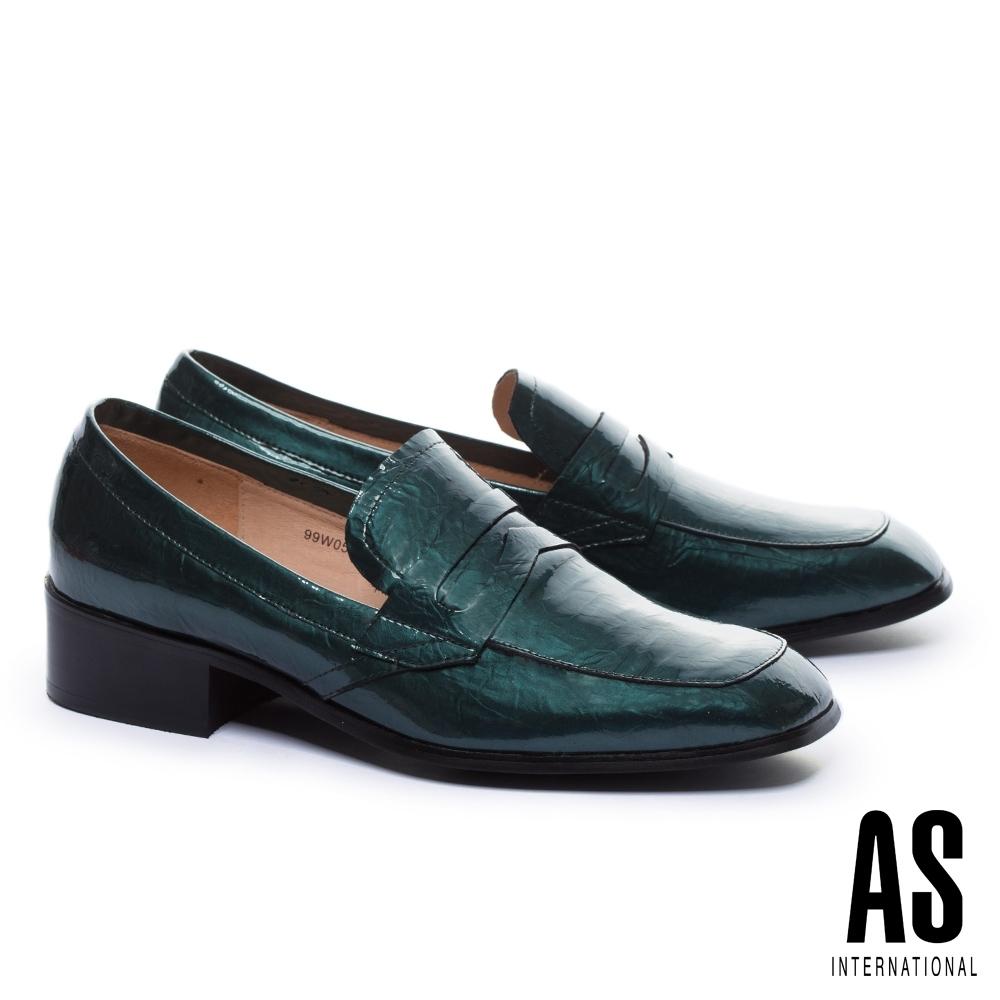 低跟鞋 AS 復古知性漆皮樂福低跟鞋-綠