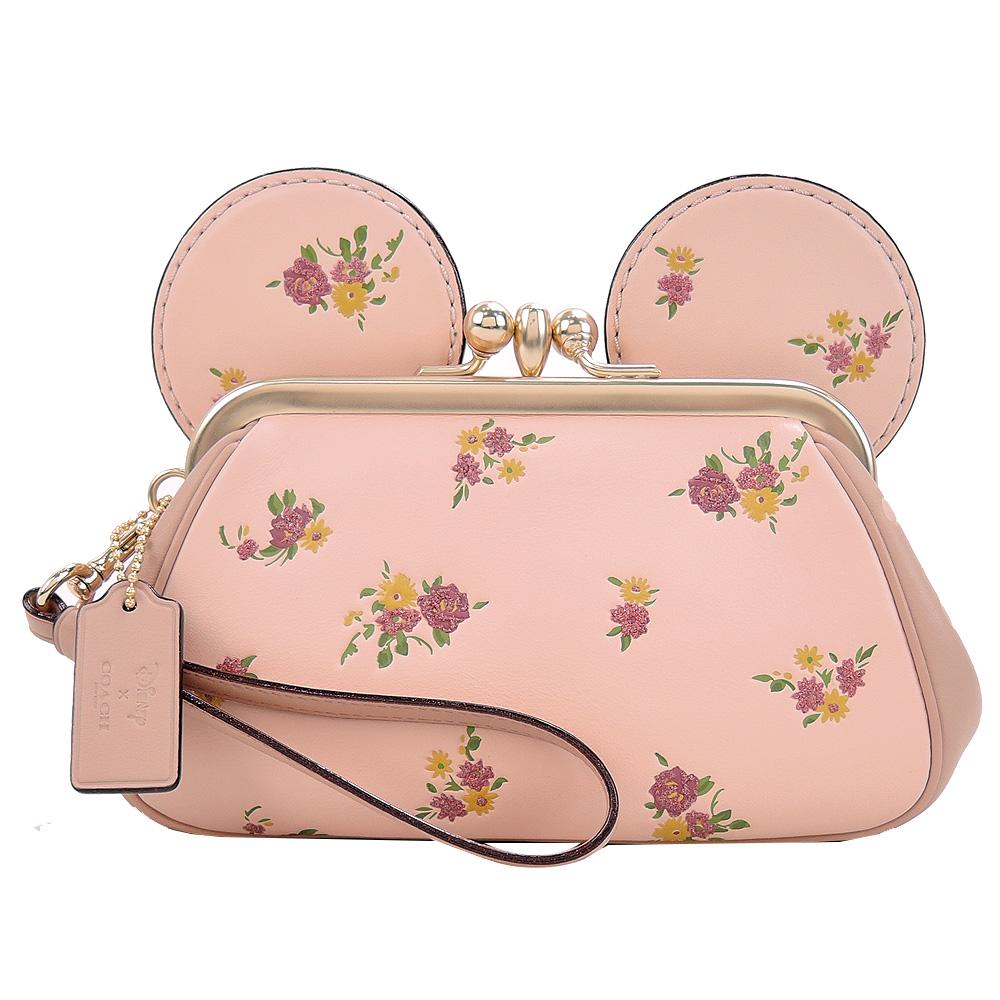 COACHxMINNIE米妮聯名款復古花印耳朵造型珠扣大手包(櫻粉)