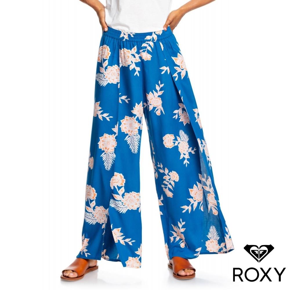 【ROXY】ADVENTURE PANT 絲質印花側開衩長褲 藍